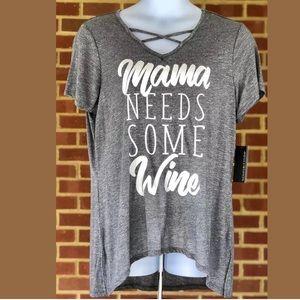 Mamma Needs Some Wine Grey Tee 1X